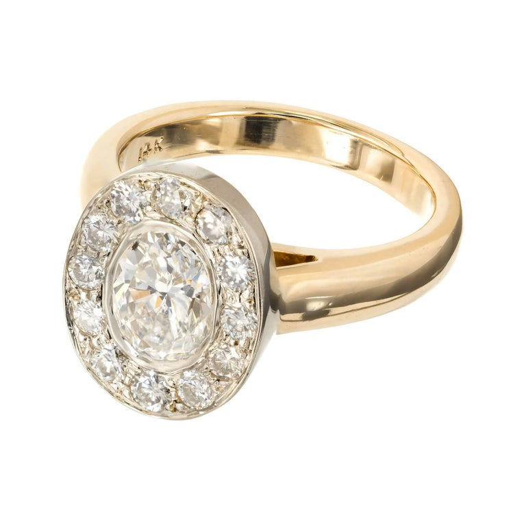 Oval Cut 1.02 Carat Oval Diamond Halo Gold Engagement Ring For Sale