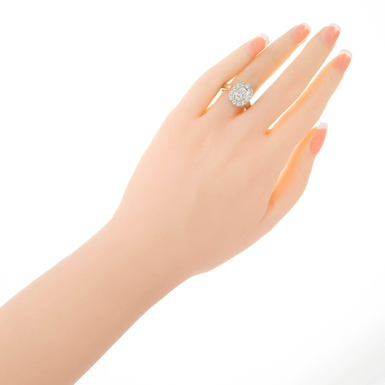 Women's 1.02 Carat Oval Diamond Halo Gold Engagement Ring For Sale