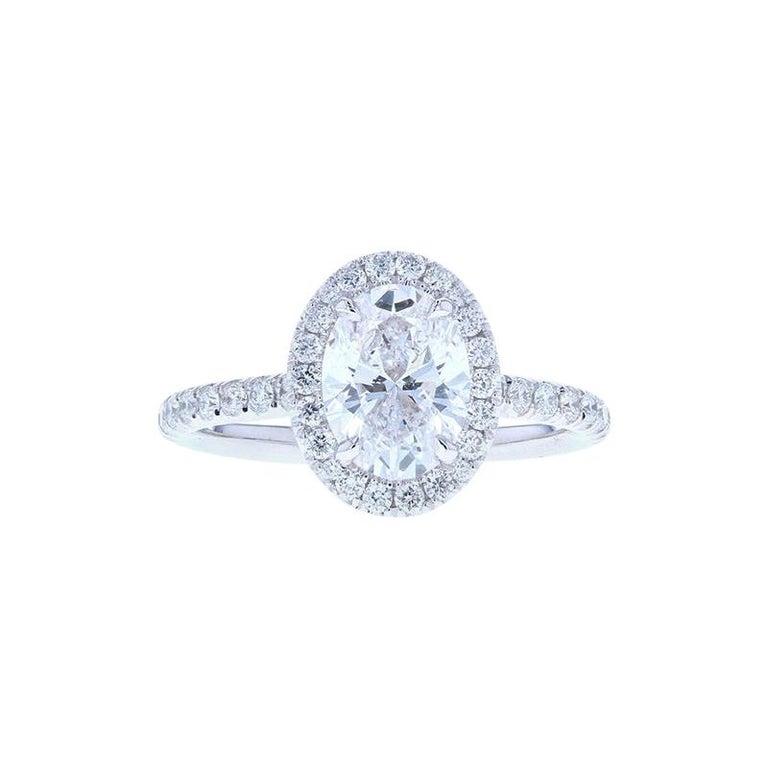 Oval Diamond Halo Engagement Ring 'Diamond Halo' For Sale