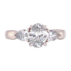 Oval Diamond Platinum Engagement Ring GIA Certified