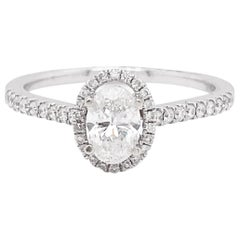 Oval Diamond Ring, White Gold, .72 Carat Diamond Oval Halo Engagement Ring
