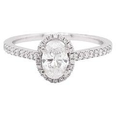 Oval Diamond Ring, White Gold, .72 Carat Diamond Oval Halo Engagement Ring
