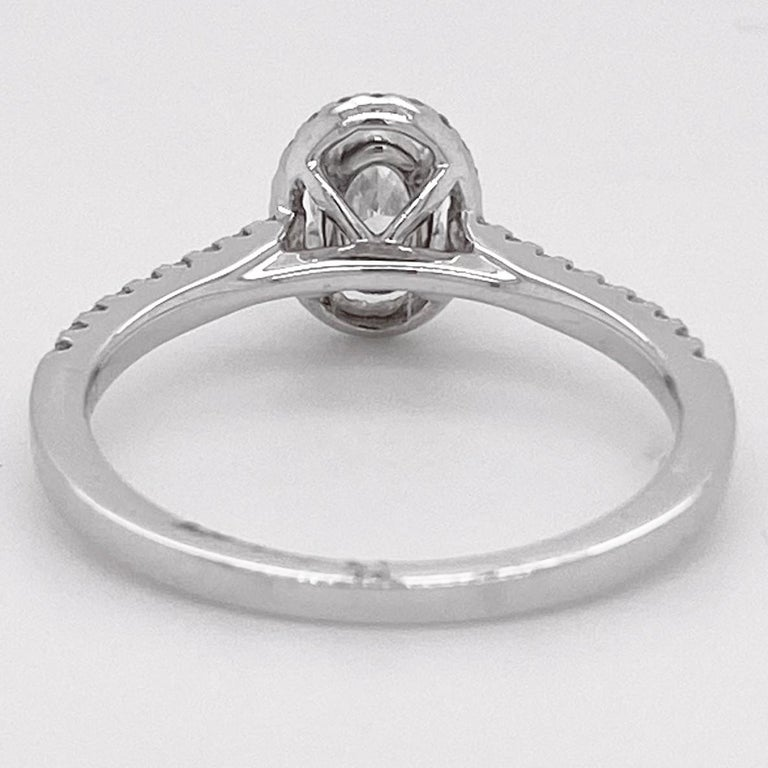 Oval Diamond Ring, White Gold, .72 Carat Diamond Oval Halo Engagement Ring In New Condition For Sale In Austin, TX