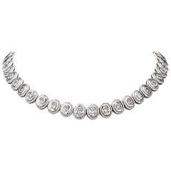 Oval Diamond White Gold Choker Riviera Necklace