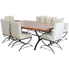 Oval Dining Suite with Iron Leg Chairs and Banquette