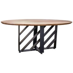 Oval Dining Table, Blackened Steel, Hardwood, Modern, Custom, Semigood