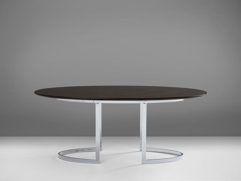 Mid-Century Modern Oval Dining Table in Chrome and Ebonized Wood For Sale