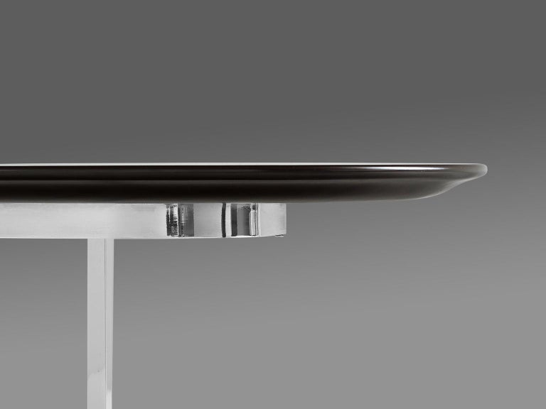 Italian Oval Dining Table in Chrome and Ebonized Wood For Sale