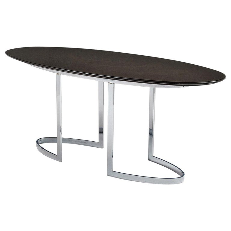 Oval Dining Table in Chrome and Ebonized Wood For Sale