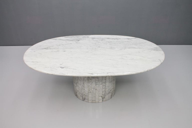 Oval Dining Table in White Carrara Marble, Italy, 1960s For Sale 8