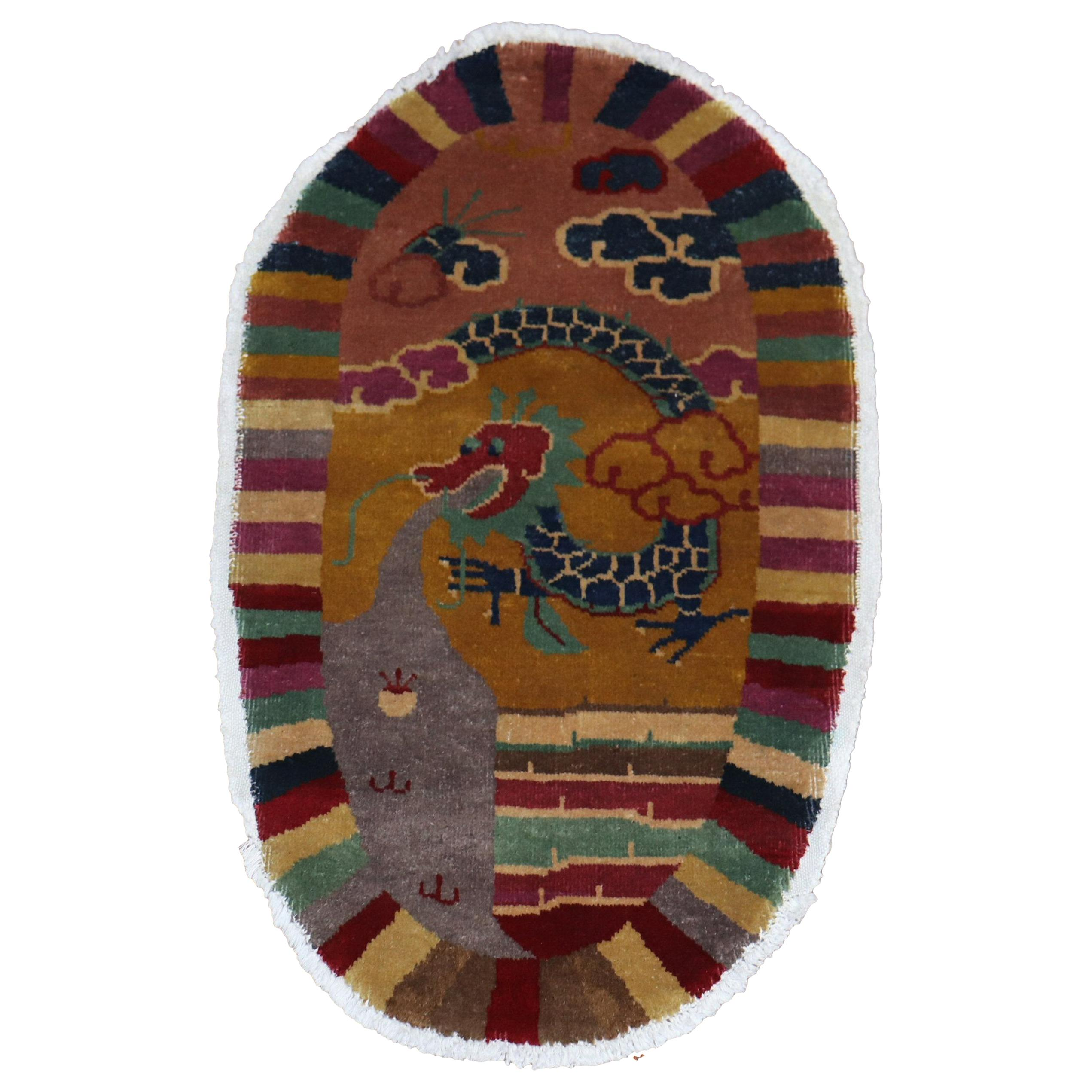 Oval Dragon Art Deco Chinese Rug