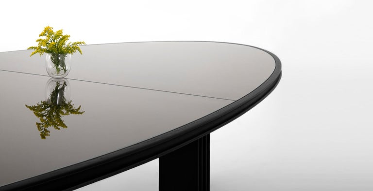 Modern Oval Elliptical Dining Table of Solid Wood and Smoked Bronze Glass by VIDIVIXI For Sale