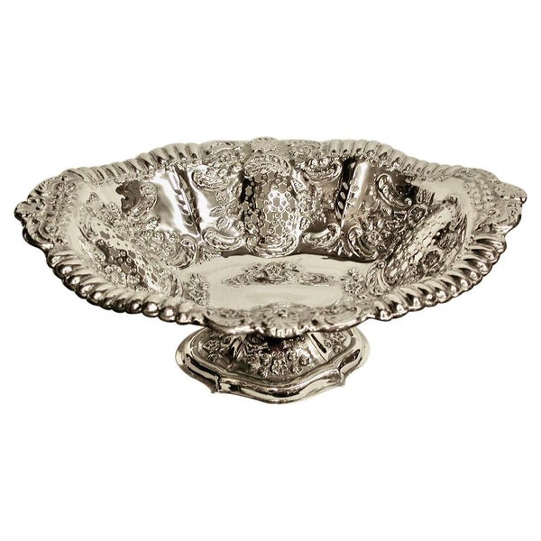Oval Embossed and Pierced Sweet Stand, Dated 1899, Walker & Hall, Birmingham