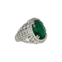 Oval Emerald 12.25 Carat Diamond Surround 8.85 Carat Total Weight 21.10 Carat