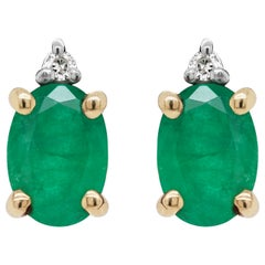 Oval Emerald and Diamond 18 Carat Yellow and White Gold Stud Earrings