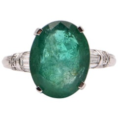 Oval Emerald and Diamond Cocktail Ring in Platinum