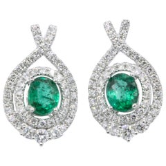 Oval Emerald and Diamond Drop Earrings