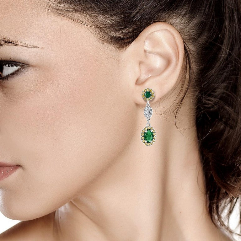 Round Cut Oval Emerald and Diamond Drop Earrings One Inch Long For Sale