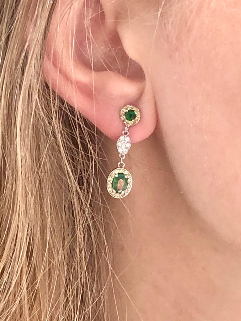 Oval Emerald and Diamond Drop Earrings One Inch Long In New Condition For Sale In New York, NY
