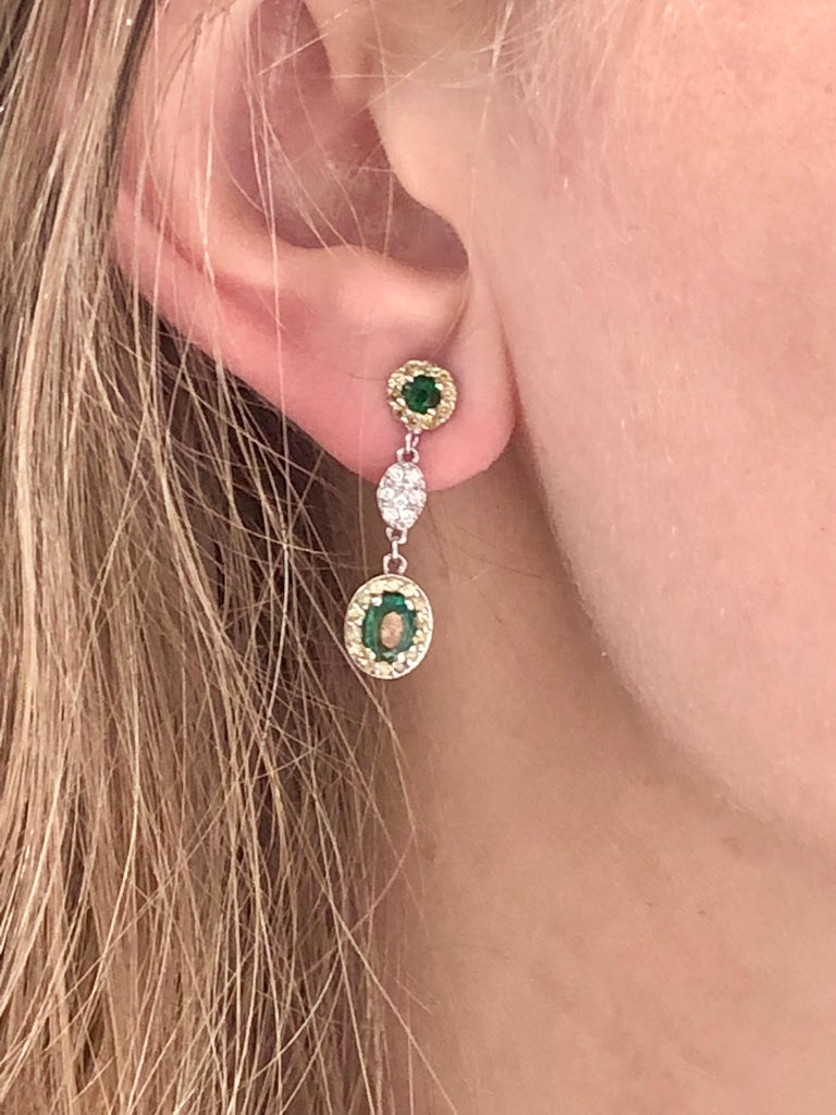 Oval Emerald and Diamond Drop Earrings One Inch Long For Sale 1