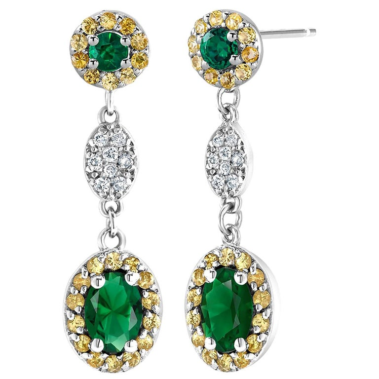 Oval Emerald and Diamond Drop Earrings One Inch Long For Sale