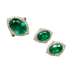 Oval Emerald and Diamond Earring Studs and Ring Suite