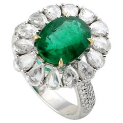 Oval Emerald and Diamond Ring Set in 18 Karat White Gold