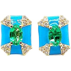 Oval Emerald and Diamond Stud with Turquoise Enameling