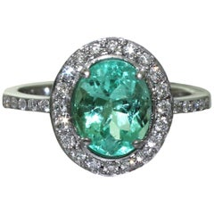 Oval Emerald and Diamonds, 18 Karat White Gold Wedding and Engagement Ring