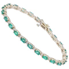 Oval Cut Emerald and Diamond Tennis Bracelet 5.39 Carats 14K
