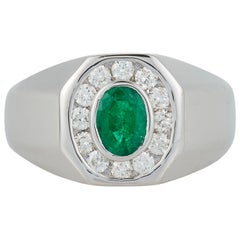 Oval Emerald Bezel Diamond Halo Mens Gents Unisex Ring Band 14K White Gold