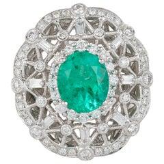 Oval Emerald Cluster Diamond Art Deco Style Engagement Ring 18 Karat Gold