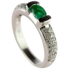 Intini JEwels Oval Emerald Diamond 18 Karat White Gold Cocktail Solitaire  Ring