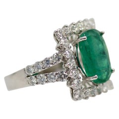 Oval Emerald Diamond and 18 Karat Gold Cocktail Ring 5.80 Total Carat Weight