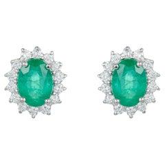 Oval Emerald Diamond Halo Classic Stud Earrings 14K White Gold Princess Diana