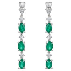 Oval Emerald Drop Dangle Earrings Round Diamonds 14K White Gold Contemporary