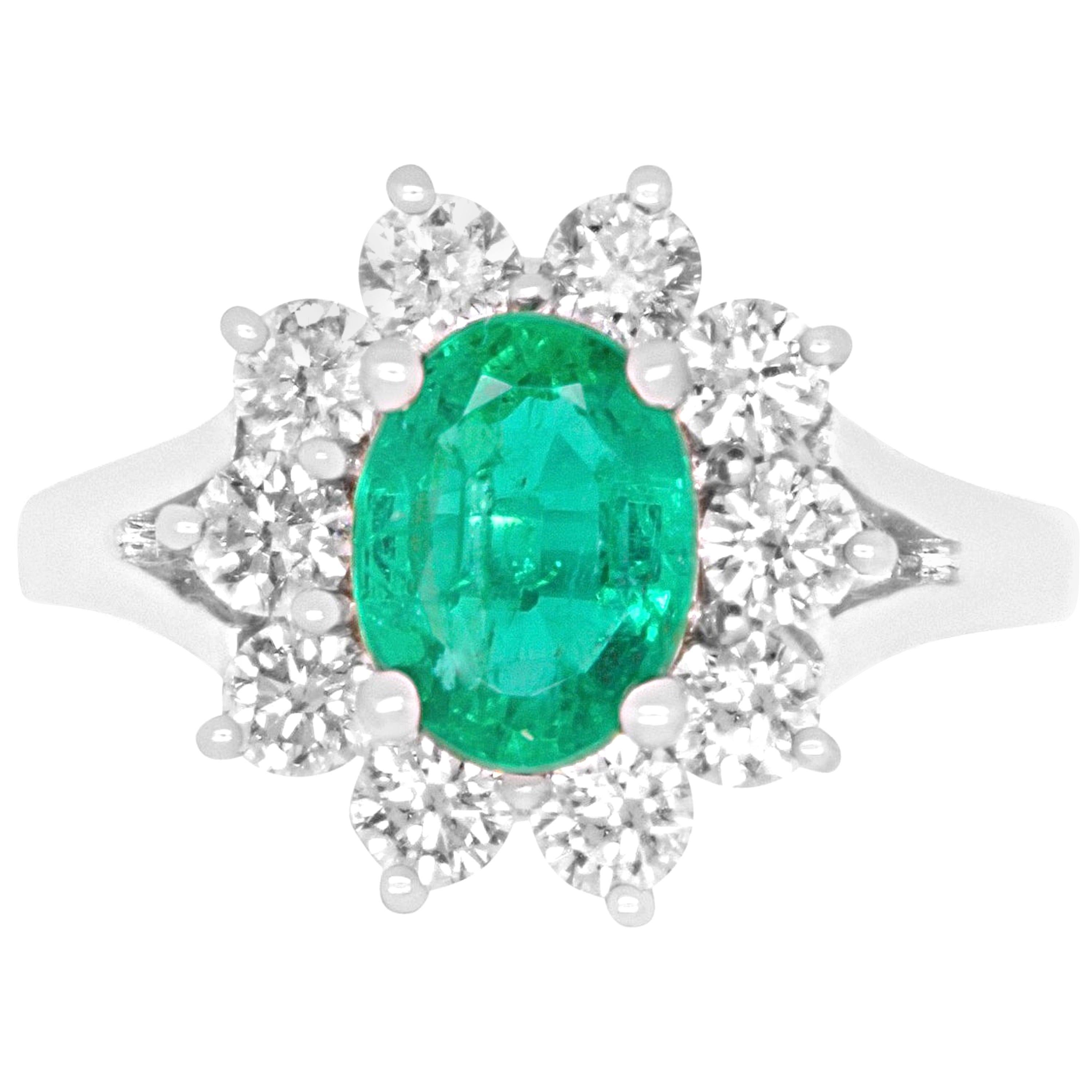 Oval Emerald and White Diamond Halo Engagement Ring 14K White Gold