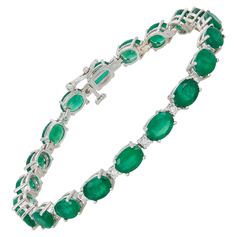 Oval Emerald Line Eternity Tennis Bracelet Round Diamond 14k White Gold