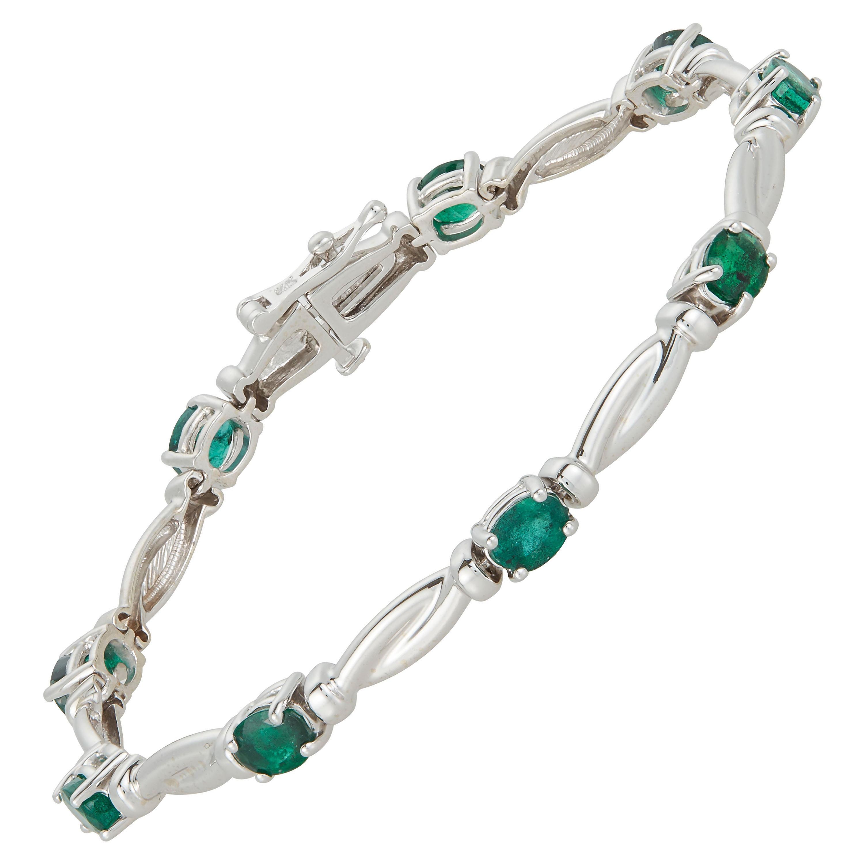 Oval Emerald Modern Line Tennis Bracelet 14K White Gold Twist Vintage Antique