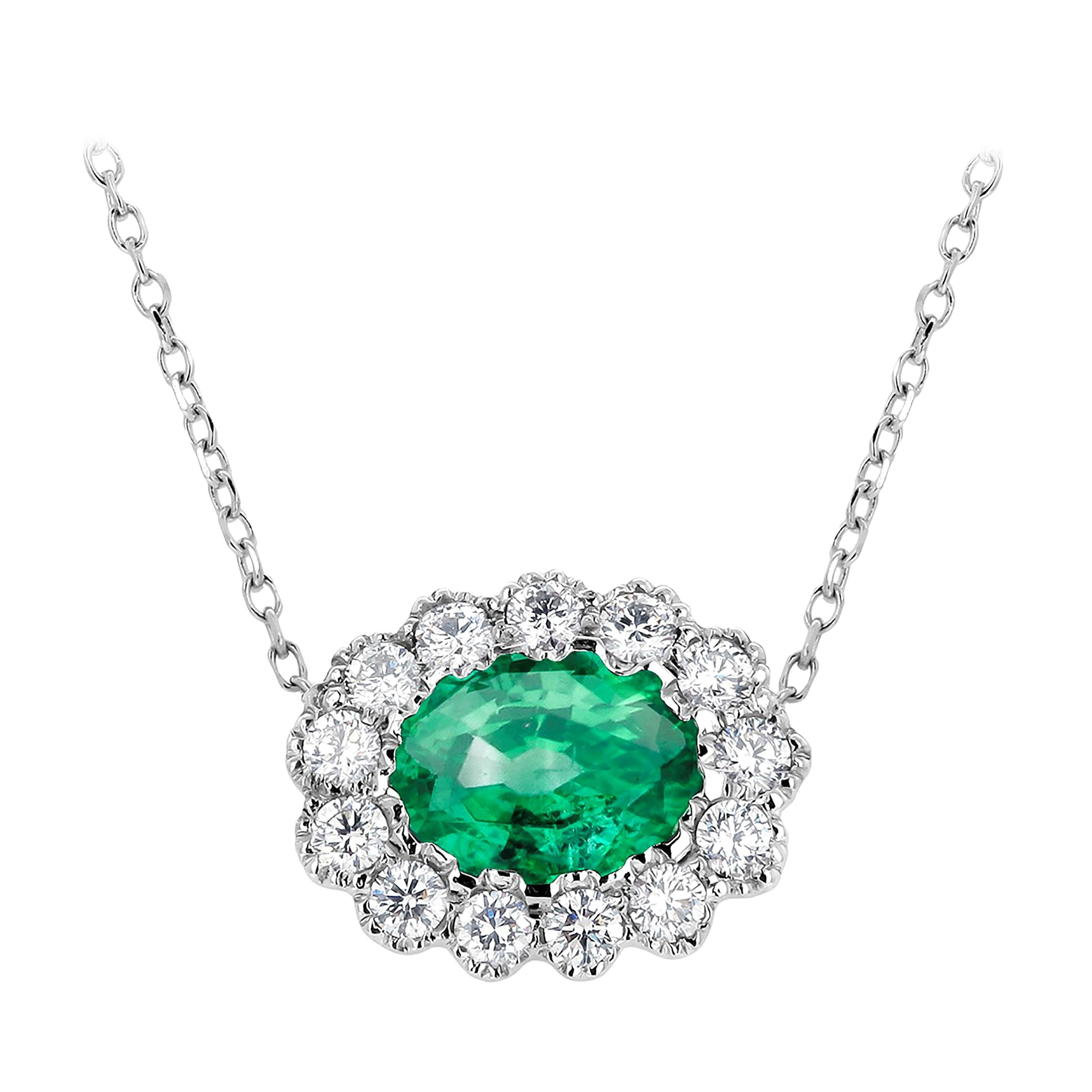 Oval Emerald Surrounded by Diamonds White Gold Drop Layered Necklace Pendant