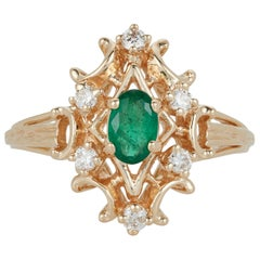Oval Emerald White Diamond Marquise Classic Vintage Antique Ring 14 Karat Gold