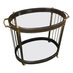 Oval Etched Brass and Glass Bar Cart by Bernhardt Rohne for Mastercraft