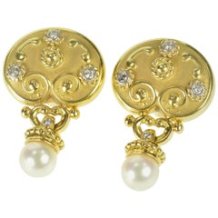 Oval Etruscan Diamond Pearl Statement Gold Earrings