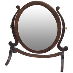Oval Mahogany Swing Vanity Or Shaving Mirror, England, Circa 1880