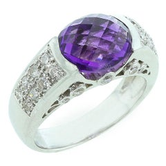 Oval Faceted Amethyst Ring with Diamonds