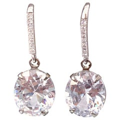 Oval Faux Diamond on micropave sterling silver hook earrings