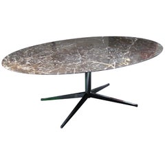 Oval Florence Knoll Table/Desk in Chrome with Black Malochite Marble, circa 1972