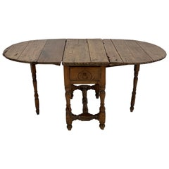Oval Folding Table with 2 Drawers, South-German
