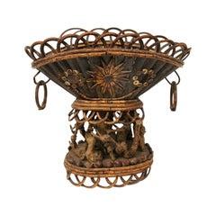 Oval Folk Art Basket Centerpiece