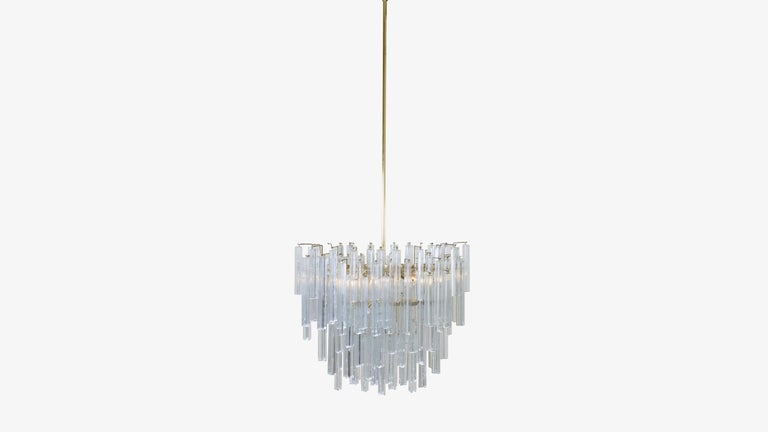 American Oval Form Tiered Brass Prism Chandelier by Camer Glass For Sale
